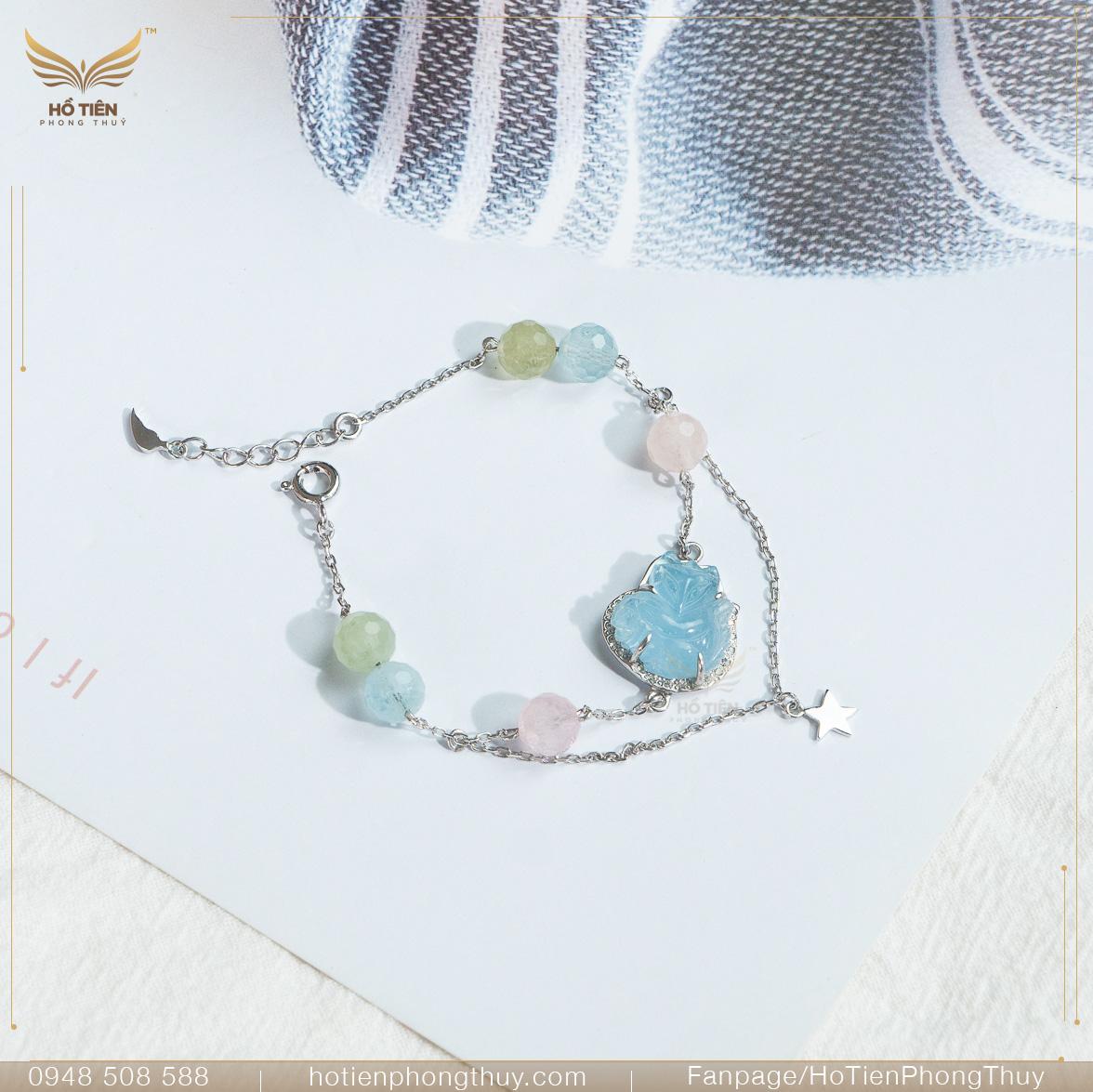 Vòng tay hồ ly Aquamarine