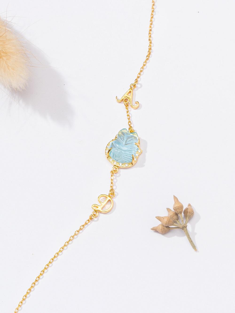 dây chuyền hồ ly aquamarine