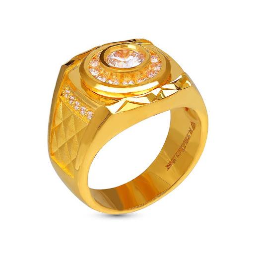 nhẫn phong thủy mạ vàng đính đá quý