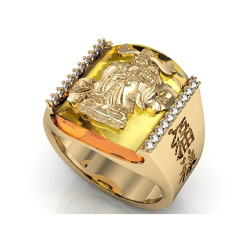 nhẫn phong thủy mạ vàng có họa tiết