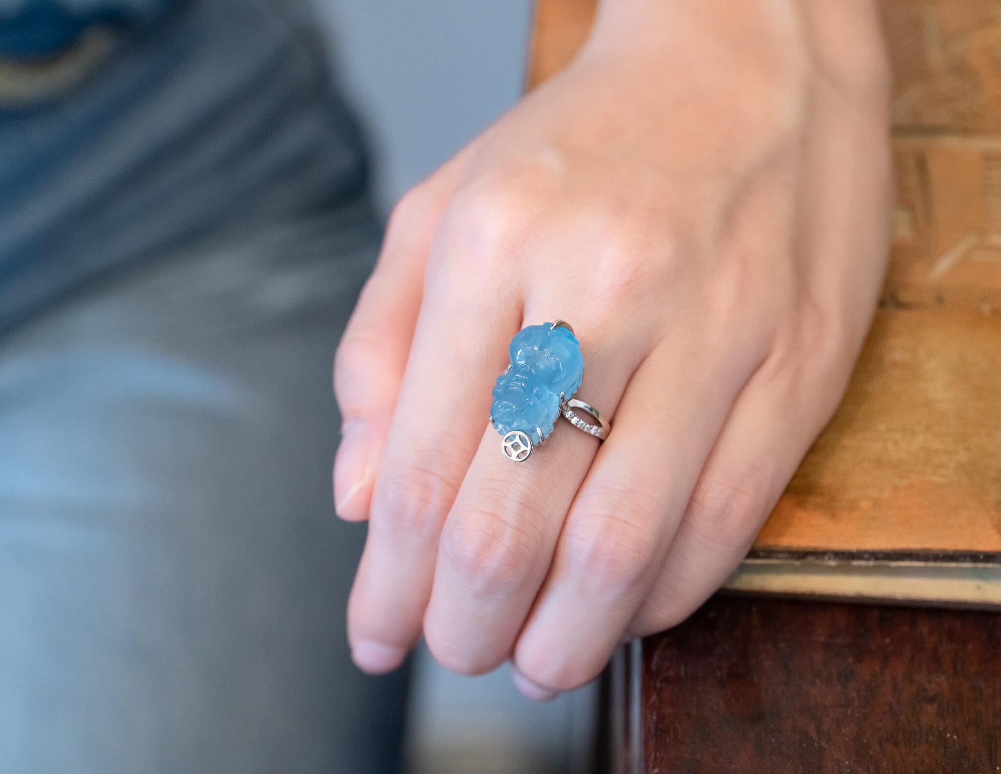 Nhẫn tỳ hưu Aquamarine