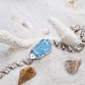 vòng tay tỳ hưu đá aquamarine