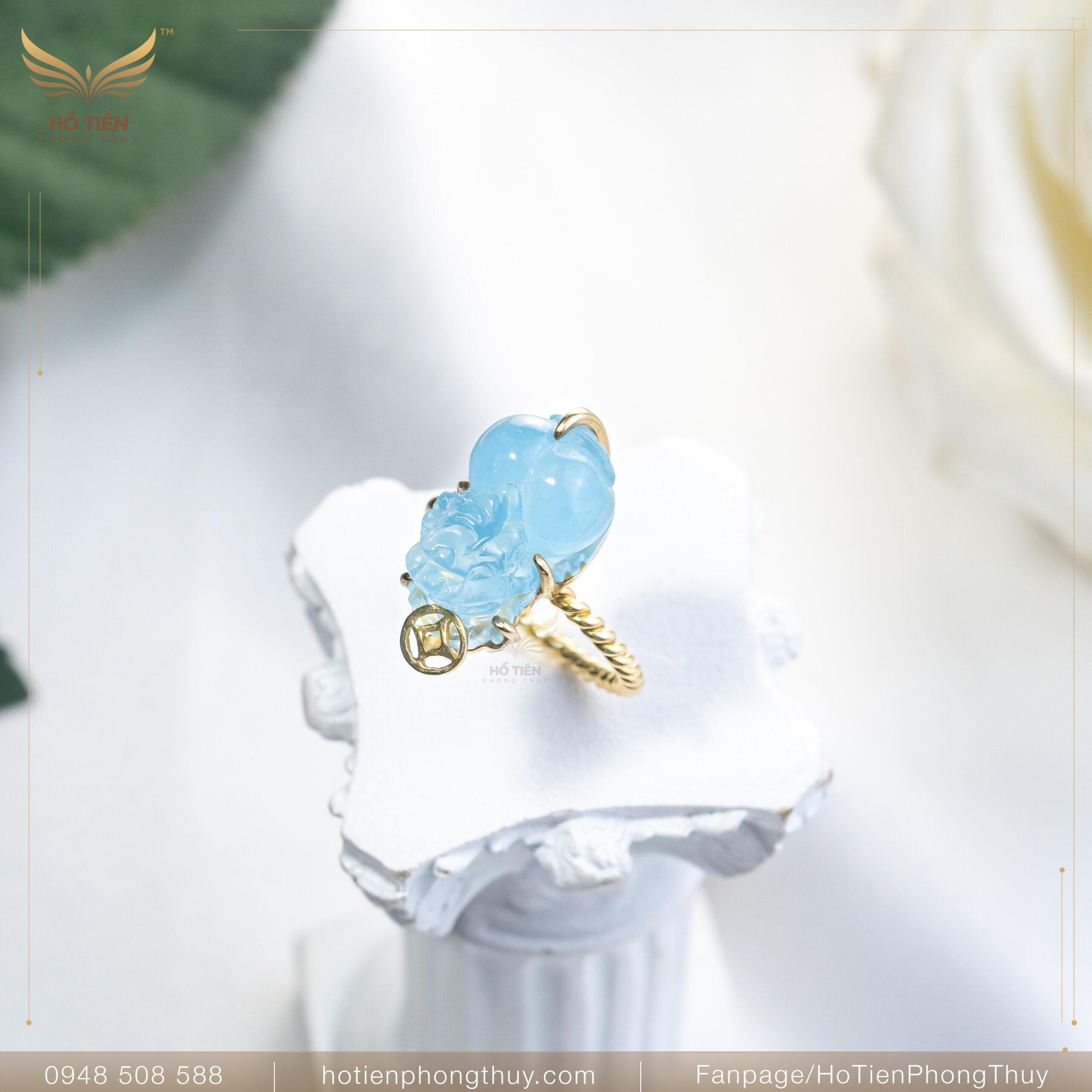 Nhẫn tỳ hưu đá Aquamarine