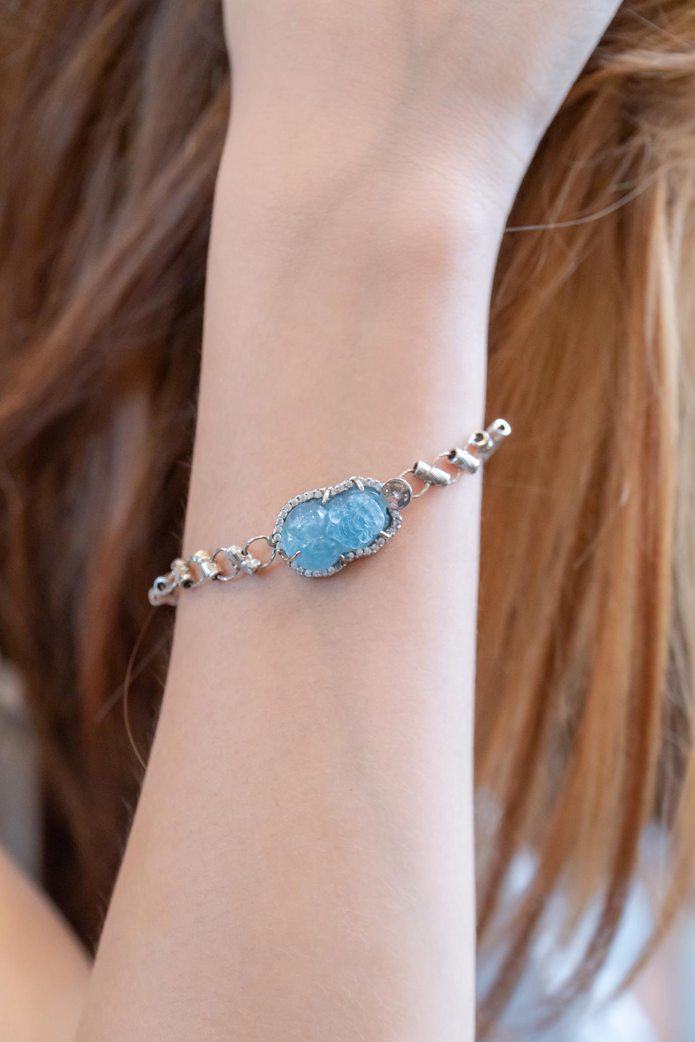 Vòng tay tỳ hưu aquamarine