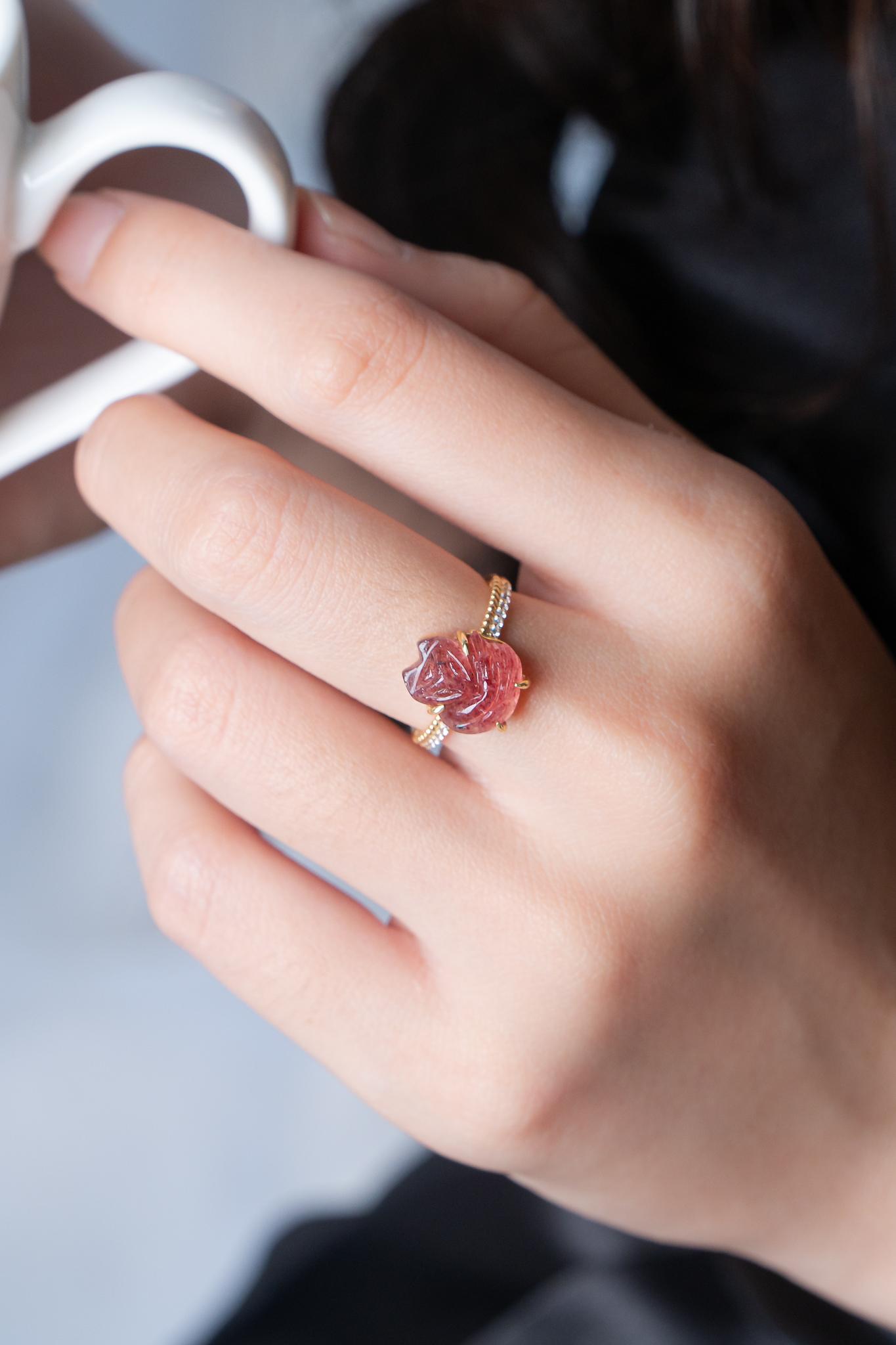 Nhẫn hồ ly 3 đuôi hồng ngọc