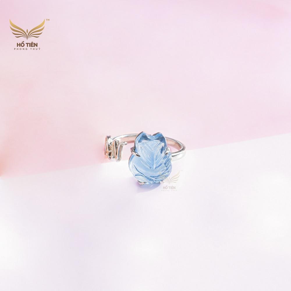 nhẫn hồ ly đính đá aquamarine